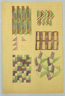 "Six separate design motifs on one sheet. The groups include vertical rectangles; staggered triangles; open work vertical rectangles; ""boomerang"" shapes; interlocking ""L"" shapes and five right triangles."