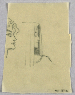 A left profile view of a woman wearing a hood occupies the center of the page. Her eye, heavily fringed, is closed. The hood extends over the hairline at the front and hangs down at the sides; the inner side framing the profile outline is shaded, while the visible outer side forms two folds. The line of the left shoulder extends outward from beneath the hood.  Next to the first view, a second, less finished and also in profile, abuts the right edge of the page. Waves spring from the hairline above the forehead. The eyebrow slants sharply upward over the eye socket, in which the eyeball is barely visible in the inner corner.