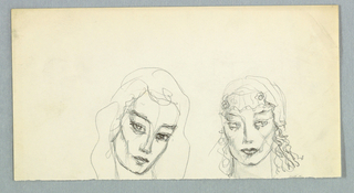 Two heads are placed side-by-side on the page, abutting the lower edge, which appears to have been torn across.   The view on the left shows the head from the front, tilted rightward. A full head of wavy hair is outlined lightly on the outer edge; on the inner edge, wisps frame the forehead and the left side of the upper part of the face.  Below eye level, the lines comprising the facial outline are heavier on the right. This use of heavier line fashions the eyebrows, slanting upward toward the outer edge of the face; the eyelids, fully open and framing large eyes; and the lips, closed and full. A diagonal line on the left, mid-level downward, emphasizes the cheekbone.  The view on the right is frontal, with the eyes turned to the right. The hair, styled close to the head above ear level, perhaps under a close-fitting cap, springs away from the face in waves on both sides below ear level. Shading is prominent on the eyelids and in the cheekbones; and marks a cleft in the chin. As in the companion drawing, the eyebrows slant upward toward the outer edge of the face and the lips are closed and full; however, the eyes are light.