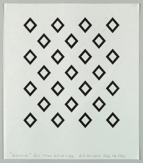 Pattern of twenty-five black diamond shaped with white centers arranged in alternating rows of four and three.
