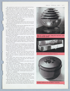 "The present four-page article by William N. Connor appeared in ""People,"" Shelf Appeal magazine. The text is illustrated by photographs of Jensen designs: a doorknob for the Jensen studio; a Bell telephone; the Adrienne cosmetics line; a container for a rug for the Karagheusin Corporation; the Morrell meat packs; a Goodrich tire design; a radio set; a metal sink for International Nickel Co.; and a cosmetic jar for the Bakelite Corporation. An illustration of ""Hannibal,"" probably excerpted from The History of Rome project, is reproduced on the article's cover page."