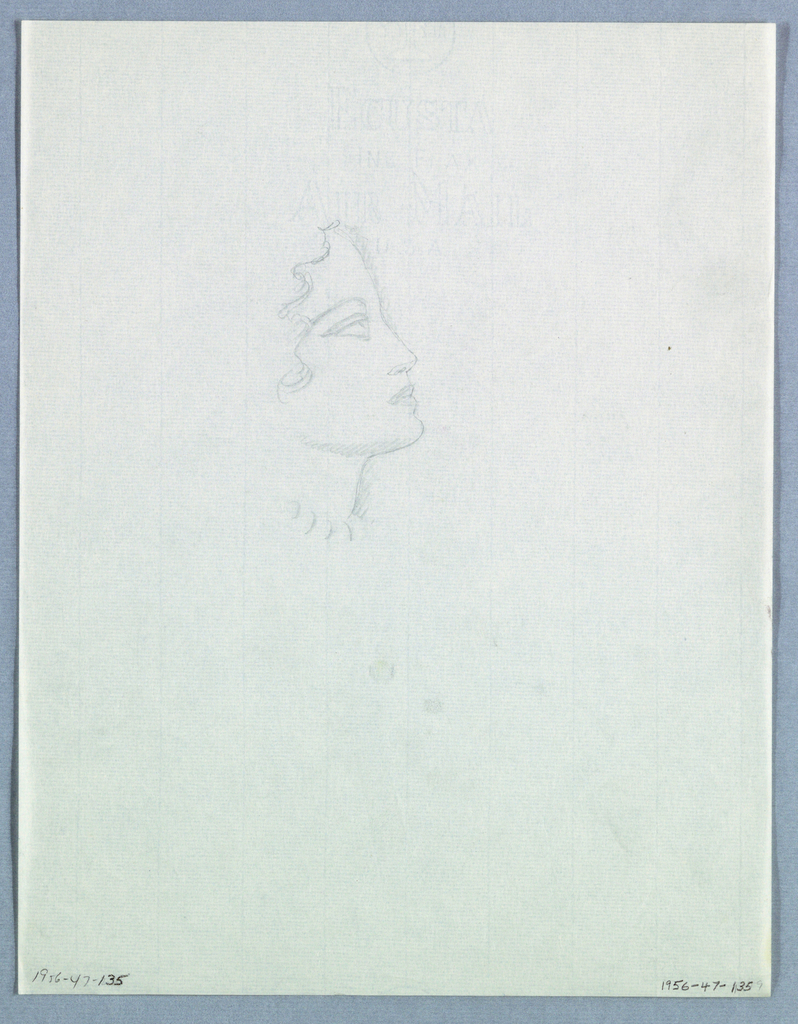 The head is tilted upward in this lightly sketched profile. The filled in nostril emphasizes the upward tilt of the nose. Shading emphasizes the cheekbone and the continuing line from the chin upward to the right and the vertical line of the neck, which stops short of a beaded choker. Curly tendrils of hair frame the face above ear-level.