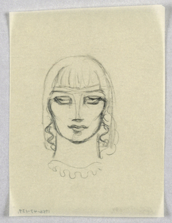 The dark outline describes a full, somewhat square face, with defined cheekbones and a rounded chin. Under gently curved eyebrows, the eyes, indicated by straight lines within their sockets, glance slightly upward and to the left. The columnar nose ends in a sharp vertical line indicating the nostrils. The upper lip, bow-shaped, is closed over the lower, full one. Strands of wavy hair frame the face from eye level to just above shoulder level. An outline framing the head around the top and on the outer side of the hair strands suggests a headdress; vertical strokes on the forehead are either part of the headdress design or may be additional hair.  A scalloped curve below the neck represents either a collar or necklace.