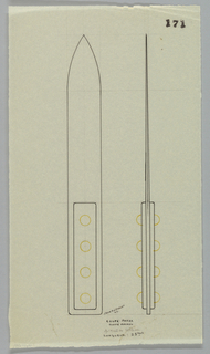 Letter opener with rectangular handle drawn in elevation and profile.  Handle decorated down the center with four studs indicated in yellow color pencil to be executed in vermeil.  The tapering blade fitted between the studded sides.  Underdrawing in graphite of knife in golden section.