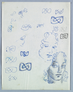 The present sheet shows a three quarter view of a female glancing left. The forehead and sides of the face are framed by curlicues. On the left cheek and neck, several rows of the letter l in script mingled with smudges comprise the shading. Smudges also appear above the wide open eyes, on the lips, and on the lower right behind the face. A second head, also in three quarter turning left, is rendered in a less realized, but similar, style. A third view, in right profile, is a thinly outlined rudimentary sketch.  Variations of figure 8 motifs in an abstract style are scattered over the page.