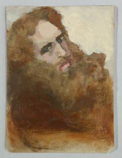 Sketch of a male figure with a beard.