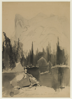 Vertical view of lake in foreground reflects pines in middle distance.  North Dome rises, rear left.