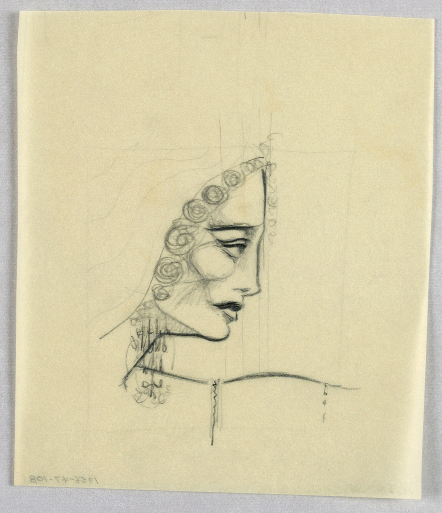 A high forehead; long nose, upturned at the pointed tip; full lips; and rounded chin, segueing into a sharp diagonal line depicting the neck, comprise the outline of the present profile. The straight line of the eyebrow slants upward over a wide open eye. A fringe of rosette-like forms frames the face from the top of the head to the chin line. Faint lines toward the back of the head may indicate a headdress. A long, broken-curved line, suggesting an exaggerated shoulder line,  juts out to the right from the neck.