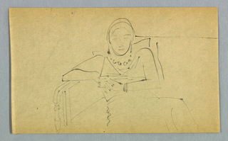 The drawing is depicted in outline. A female in a slouching position is seated on a sofa. She leans against a pillow in back, her head rising above both the pillow and sofa frame. Her shoulders are hunched. Her bent arm rests on the frame, which appears to be of wood or metal, of the sofa arm on the left, and the other arm bends across the body just above the waist, where the two hands clasp. Her shoulders are raised slightly and her legs are crossed. The drawing is cut off below the knee close to the bottom edge of the page. The subject wears a close-fitting hat; a jacket or dress with revers; dangling earrings; a one-strand beaded necklace; and several bangles (or a cuff bracelet) on the right. Although her eyes are open, she seems lost in thought (or bored).