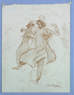 Two figures dancing within a circular frame.
