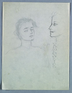 In the top half of the page, on the left, the head of a female turns right.  With soft shading behind, articulated lines of hair spike upward from the forehead, then fall softly downward, framing the face on the left to chin level and on the right to eye level. Pale eyes, partly closed under straight brows; softly closed lips; and an upward tilt of the head contribute to a pensive, even dreamy, expression. The neck and shoulders are depicted by a few lines.   Upward and to the right is a profile view, less detailed than the first and probably of the same model. Her lips smile softly, the eye is wide open and the hair consists of a few wisps at the top of the forehead.  Just above the right shoulder of the woman in frontal view are the initials, in capitals, G. H.; at right angles, in vertical format, is Kmeneje, also in capitals.