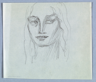 The present view of a female with long, wavy hair is centered on the page and cut off at the top edge. The wide open eyes glance rightward. Shading, in the form of lightly sketched lines, is superimposed on the eyes, nose, and right side of the face and neck.