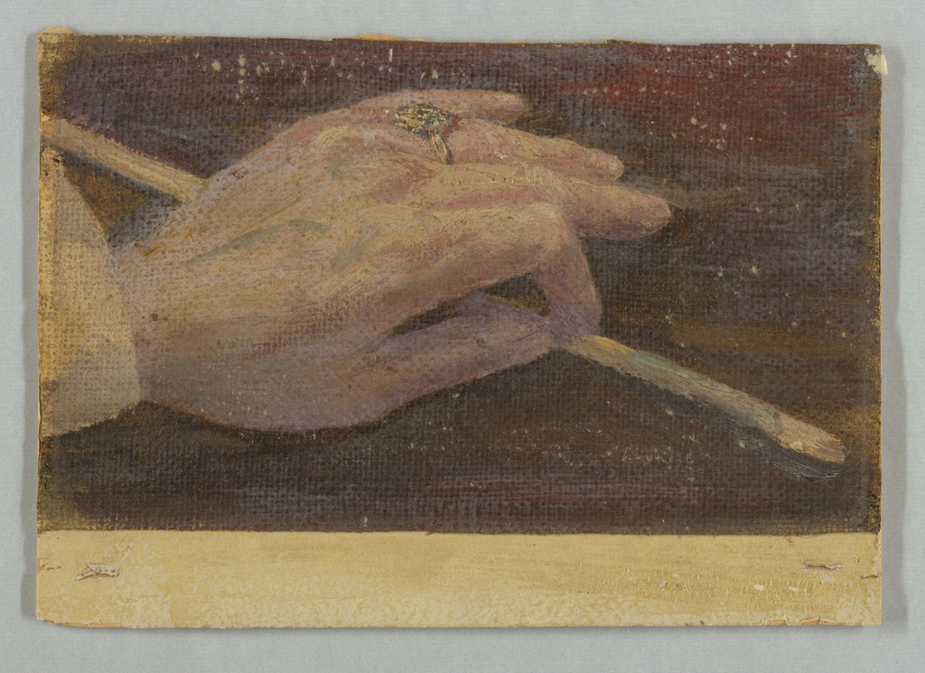 Trimmed piece of canvas depicting an artist's left hand adorned with a ring and holding a painter brush.