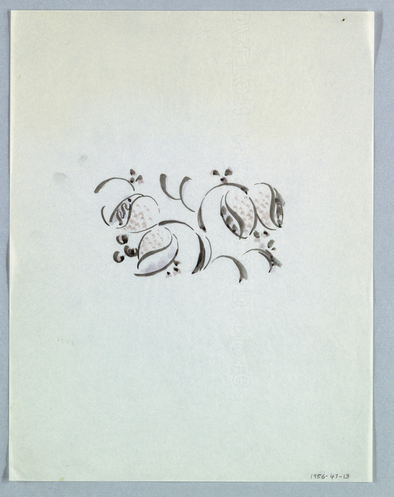 In the center of the page, abstract floral forms in a dotted pattern are attached to curved stems in a black and red color scheme. The colors appear to have faded.