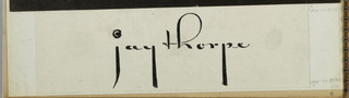 "The company name, Jay Thorpe, is imprinted on white coated paper in black in a hand-lettered style upright script exclusively in lower case; the verticals of the letters ""j, ""y,"" and ""p"" are exaggerated in length; the loop of the ""h"" balloons to the right; and the dot over the ""j"" is a spiral form."