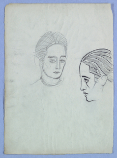 In the present head-and-neck view in the upper half of the page, just left of center, a female, her eyes wide open under straight brows, glances to the left. The mouth is closed and unsmiling. The hair, perhaps bound in a headdress, is swept back at the crown. The neck ends in a few sketched lines, indicating a garment or a necklace.  To the right, abutting the edge of the page, is a left profile view of an androgynous head, tilted slightly downward. The zigzag-edged hairline gives way to swept-back hair, depicted in a series of curved lines on the head. High forehead; straight nose with fleshy tip; full, slightly parted lips; and rounded chin comprise the profile. The eyebrow curves downward over a wide-open eye.