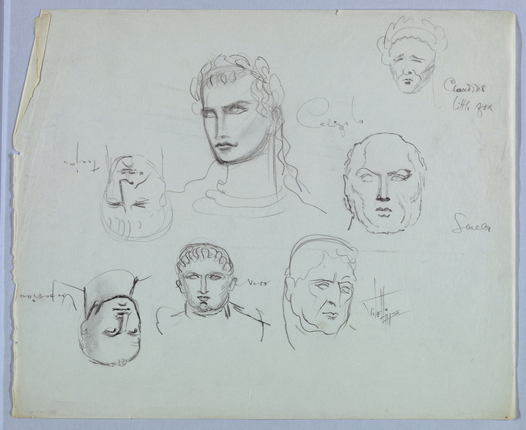 """Frontal views of the heads of seven Roman emperors, identified by name, comprise the present sheet:  Caligula, turning and glancing toward the left, wears a laurel wreath in his wavy hair, which cascades down on the right side. His lips are closed; his expression sullen,  petulant.  Sculla looks straight ahead. He is balding on top, but has hair at the sides. His jaw is square and jowls heavy.  Claudius's pointed chin; eyes and brows delineated by downward diagonal lines; thin lips; and crown of hair combine to support the tagline """"little fox"""" here appended to his name.  Vitellius turns his head and glances to the right. Two curved marks between the brows and heavy jowls suggest aging.  Nero, facing the viewer, glances upward. His hair is depicted in a semicircle of wavy lines on the crown. His ears are prominent, nose long, mouth fleshy, and rounded chin emphasized by a convex curve just above it.  With the sheet turned top-to-bottom:  Vespasian turns toward the left. His eyes glancing in that direction and tightly closed lips produce a wary expression. He is balding, with sparse hairs at the top.  Trajan, turning slightly to the right, shows a square jaw; long, wide nose; tightly closed lips; and sparse hair. His expression is frowning."""