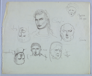 "Frontal views of the heads of seven Roman emperors, identified by name, comprise the present sheet:  Caligula, turning and glancing toward the left, wears a laurel wreath in his wavy hair, which cascades down on the right side. His lips are closed; his expression sullen,  petulant.  Sculla looks straight ahead. He is balding on top, but has hair at the sides. His jaw is square and jowls heavy.  Claudius's pointed chin; eyes and brows delineated by downward diagonal lines; thin lips; and crown of hair combine to support the tagline ""little fox"" here appended to his name.  Vitellius turns his head and glances to the right. Two curved marks between the brows and heavy jowls suggest aging.  Nero, facing the viewer, glances upward. His hair is depicted in a semicircle of wavy lines on the crown. His ears are prominent, nose long, mouth fleshy, and rounded chin emphasized by a convex curve just above it.  With the sheet turned top-to-bottom:  Vespasian turns toward the left. His eyes glancing in that direction and tightly closed lips produce a wary expression. He is balding, with sparse hairs at the top.  Trajan, turning slightly to the right, shows a square jaw; long, wide nose; tightly closed lips; and sparse hair. His expression is frowning."