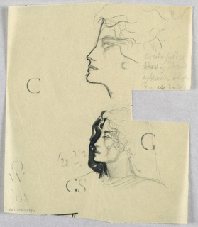 In the upper half of the page on the right, the profile of a female head tilted upward is depicted in dark outline. The eye, barely visible in the upper left hand corner of its socket, glances upward under a curved eyebrow. Broken curves comprising the hair frame the face above an earring and continue over the top and back of the head. Four lines of indecipherable script fill the space to the right.  Directly below the first head, a second, probably female and positioned on shoulders, resembles the first. Here, however, a heavy black wash appears outside the profile outline and shading is used on the face and neck. A thick head of shoulder length hair erupts in wavy tendrils framing the face. A series of curves across the shoulders suggests a garment.  Various capital letters, for example, C, G, S, and W are scattered on the page, and a price quotation, $28.22, appears to the left of the second head.
