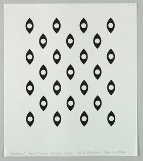 Pattern of twenty five black seed shapes with white circular centers arranged in alternating rows of three and four. In graphite upper row in center, a lightly penciled seed shape.