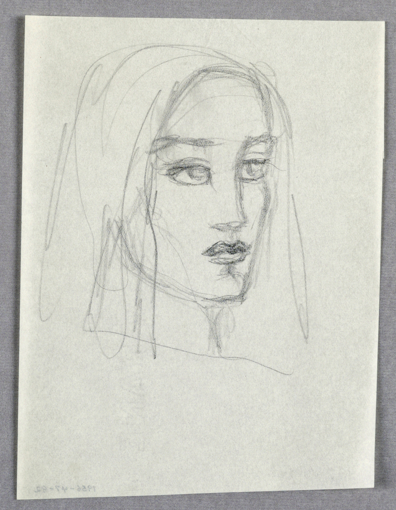 In the present drawing of a female turning right, the large, wide open eyes and full, slightly parted lips, and high cheekbones are the salient features. The face is framed by what appears to be a shoulder-length headdress or, perhaps, straight shoulder-length hair.