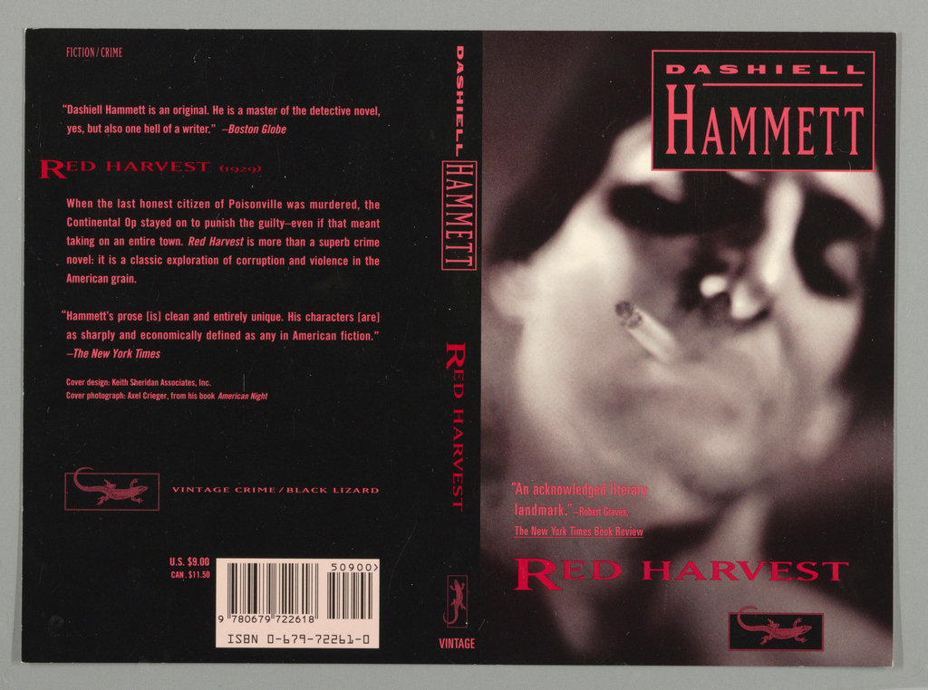 Front cover, out of focus black and white photographic image of man with head cocked to left side with cigarette in mouth and smoke obscuring bottom portion of face and neck. Title, superimposed on top of lower edge of page in red text. Red box superimposed on top of photograph in upper right corner containing author's name in two lines in pink text on black ground with first name underlined in pink. Above title on left, three lines of book review in pink text. Below title on right, Vintage Crime/Black Lizard logo in pink and black. Back cover, two lines of book review in pink text and below left of review, title in red with date of publication, above eight more lines of book review. Near lower part of page, Vintage Crime/Black Lizard logo. Spine, author's first name and then last name in rectangle, all in pink on black ground. Below author's name, title in red text above Vintage Crime /Lizard logo, all in pink all on black ground.