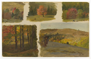 Five separate studies float on creamy ground.  Upper row center:  a tree with red leaves stands in center of meadow with two grazing cows at lower left and green trees in background.  The lateral right study shows group of trees with cows grazing lower right; left study,a group of trees.  On lower half of sheet, at left, a group of trees in autumn color; at right, a hill sloping down to right behind which is a valley and a hill rising up in rear.