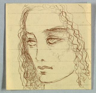 The drawing medium, brown in the present object, may have been black in the original.  The eyes, glancing upward and to the left, are placed beneath shaded lids and brows. The outline of the face on the left indicates a high cheekbone and sharp chin; a dark mark beneath full lips may depict a cleft. Wavy hair, cascading to the shoulders, completes the design.