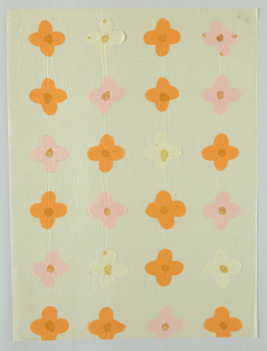 Four petaled flower motif made from orange, pink and beige colored tissue paper, with watercolor centers arranged in four rows of six.