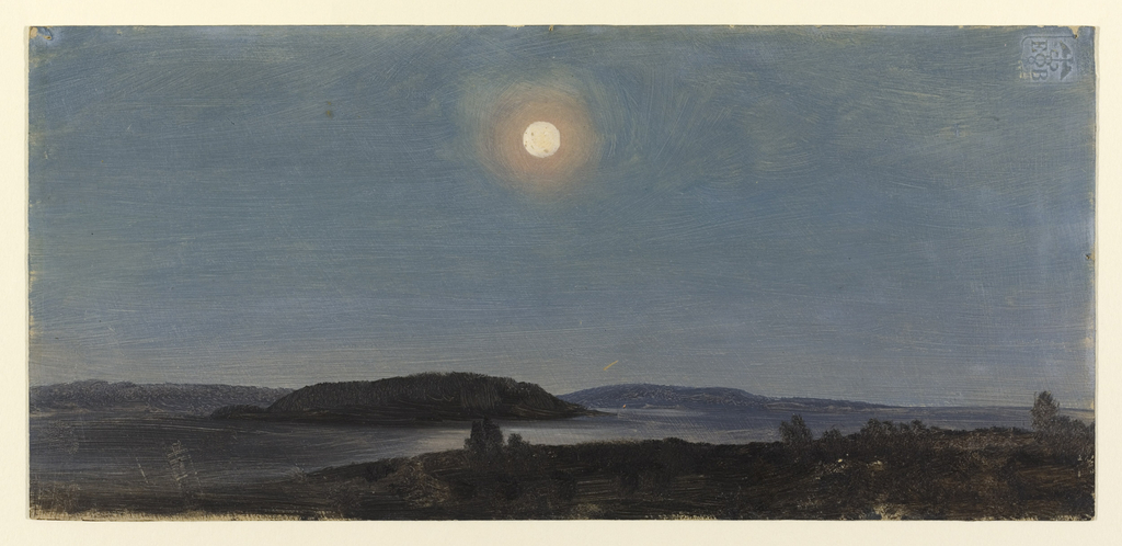 Horizontal view of wooded island and distant shore, bathed in the light of a full moon from a shore with scrub-brush, in foreground.