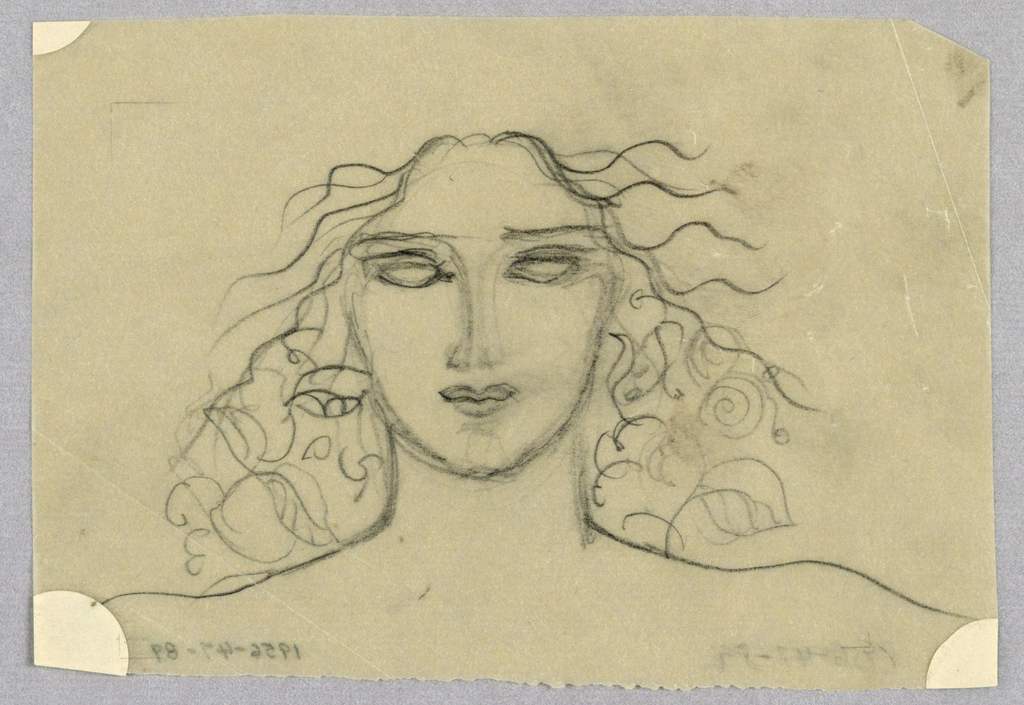 Occupying the entire page, the present frontal view is of a female with an ovoid face, in which empty eye sockets under straight brows; a straight nose; and full, closed, barely smiling lips comprise the features. Strands of long, wavy hair, intertwined with leaves, jut out sideways from the top of the forehead, ending at the shoulders, which are depicted by a single curved line on each side of the neck. There is a resemblance to antique renderings of the Gorgon Medusa's snake-filled hair.