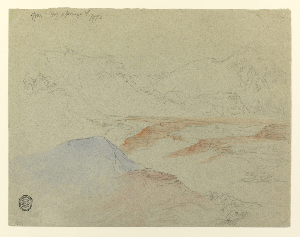 Recto:  Horizontal view of valley, bordered at back, at left and in the foreground by mountains. Verso:  Unfinished sketch.