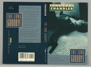 Front cover, blue-toned black and white photographic image of man in tuxedo with gun in left hand, lying on his back on white-tiled floor. Upper left corner, author's name in rectangular box, first name n green text on peach ground with last name below in pink text on green ground. Lower edge of page, thick blue band with two lines of book review in lower left corner and in lower right corner, blue box outlined in green with title in two lines in peach on blue ground. Back cover, pale blue vertical rectangle on dark blue ground with three paragraphs of book reviews. Blue box, outlined in green with title on two lines in peach, superimposed with to the left of light blue rectangle. Below box with title, vertical Vintage Crime lizard logo, all in peach on blue ground.