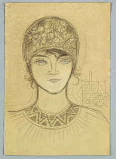 In the present frontal view of a female with an oval face, the light blue eyes looking straight ahead are the predominant feature. The pink tint of the lips supplies the only other touch of color. The subject wears a cloche or helmet-shaped hat, patterned in circles and squiggles; wisps of hair escape onto the forehead and the sides of the face. The rounded neckline of her blouse is edged in a wide band composed of v-shapes; beneath the band, short vertical lines, from shoulder to shoulder, suggest tucks. Above the right shoulder, Ellen/ Nutaar/ 1922 is handwritten, the letters l reaching upward above the others.