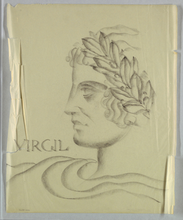 This view of a man facing left (Virgil) is the reverse of 1956-47-31, in which the subject faces right. While the outline of the present object matches that of the other, the details of the shading, waves of hair on the crown of the head, and the garment are less carefully wrought.