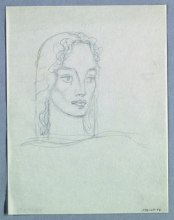 The head, tilted to the left, is positioned on a thick, long neck, outlined by a curved line on the left and straight one on the right. A wavy edge of hair, beginning at the left eyebrow, extending across at the top of the forehead and down the right side of the face and neck, ends at the shoulder. A rounded line following the contour of the head from the top left to the right shoulder indicates either thick hair or a long headdress. The horizontal lines of the eyebrows connect unbroken to the vertical outlines of the nose. The wide open eyes glance to the left. Shading appears under the nostrils, the thick lower lip, and the chin. A curved line below the neck indicates the shoulders.