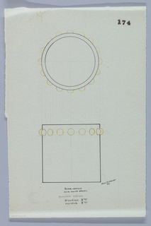 Cylindrical holder drawn in plan and elevation.  The upper lip decorated with a ring of studs indicated in yellow color pencil to be executed in vermeil.  Underdrawing in graphite of pencil holder in golden section.