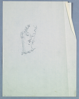 The head, turning right, is positioned on a long neck. Curly hair frames the face, ending at ear level on the left and just below on the right. Under thin eyebrows,  the eyes, barely visible within almost closed eyelids, glance downward. Dark marks appear in the nostrils, under the bottom lip and under the chin. The length of the face and neck are emphasized by shading. Just below the neck, a series of S-curves slanting upward to the right suggests a neckline or necklace.