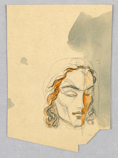 Recto: Sharp contours (chin, jaw, and cheekbone) characterize the face in the present view. The eyes are downcast under curved brows. Wavy hair frames the sides of the face. A red wash highlights the hair on the left and the cheekbone on the right.  Verso: Sentence fragments, apparently from a Jensen design project, comprise four lines, initialed by Jensen.