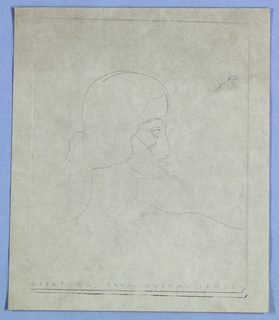 This head-and-shoulders view of a female in right profile is a design for a greeting card. The line drawing, lacking shading, emphasizes the sculptural quality of the facial features: the eye sockets are blank, the cheekbone incised by two intersecting curved lines. The hair is styled in a wave next to the face and over the ear, and then pulled at the back of the neck into a chignon. The whole is enclosed within a thin rectangular border, and just above the bottom line of the border Greetings from Gustav Jensen is imprinted in small Art Deco style capitals.