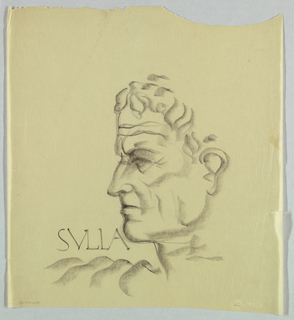 The source of the chiseled appearance of the head is ancient Roman sculpture; the features look carved rather than drawn. The dark line depicting the upper lip of the closed mouth, along with the furrowed forehead and thickly applied crayon throughout, produce a confident, concerned expression. Sulla appears in capitals just above the left shoulder.