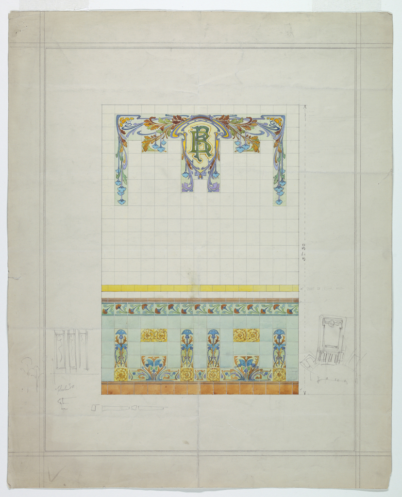Drawing, Design for Tile Decoration, for the Banque Renauld, Nancy, 1880–1900