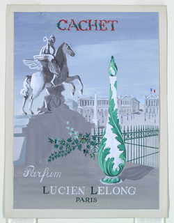 Cachet perfume advertising with Place du Carrousel background