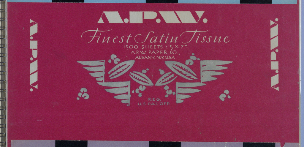On a red background, in ivory Art Deco block capitals, A.P.W. is imprinted, centered, just below the top edge; and repeated in identical color and style, but smaller, next to the left and right sides, parallel to those edges and facing outward. Underneath the centered A.P.W., is Finest Satin Tissue (italicized)/ 1500 Sheets 5 x 7/ A.P.W Paper Co.,/ Albany, N.Y. U.S.A. (Art Deco., smaller and thinner version), and framing the second and third lines of type, in pale olive green, is a stylized, symmetrical foliate pattern, incorporating Reg/ U.S. Pat. Off., centered at bottom.  With the label wrapped around the product, A.P.W. appears on the opposite side in the larger version, accompanied by foliate excerpts on both sides. Underneath, in the lower half, is A.P.W. (smaller version)/ Quality/ Toilet Paper/ products (italicized).