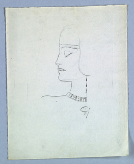 This head-and-neck left profile view features a close-fitting headdress with an ear flap; and a collar, perhaps fabricated of metal, displaying the numerals 1, 9, 3, and 7, separated by vertical lines in groups of three. Three narrow, triangular shapes comprise a drop earring, extending downward from behind the flap.