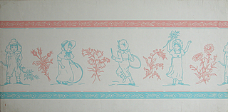 Children's paper with reproductions of drawings by Kate Greenaway depicting four children at play, two boys and two girls. Each child is separated by a spray of flowers outlined. The children, too, are outlined, and dressed in typical Greenaway clothes. At the top is a pink band with running floral sprays outlined in white. At bottom is a blue band with same motif running in reverse direction. Printed in blue and pink on ivory ground.