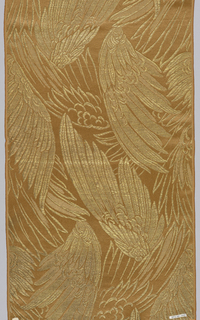 Sample of a wide ribbon with a satin ground in light brown with a design of bird wings in supplementary gold weft.