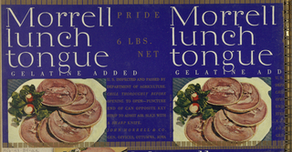 The six discrete Morrell tongue label parts comprise three labels for canned tongue (see below). They share certain design elements: a navy blue background; large, white serif-style type for the product name; smaller gilt upper case type for details of the package contents; and images of plated sliced tongue, photographed in color. Some details vary: in the ox tongue version, the garnish is parsley, and unseen hands hold a knife in the act of slicing the tongue, thus adding to the already plated contents; in the lunch tongue version, a dark green leaf is accompanied by two radishes.  1956-47-84-cc and 1956-47-84-ff comprise one label, imprinted Morrell/ ox/ tongue. 1956-47-84-aa and 1956-47-84-ee comprise one label, imprinted Morrell/ lunch/ tongue. 1956-47-84-bb and 1956-47-84-dd comprise one label, imprinted Morrell/ lunch/ tongue.  Album, pages 4 and 5.