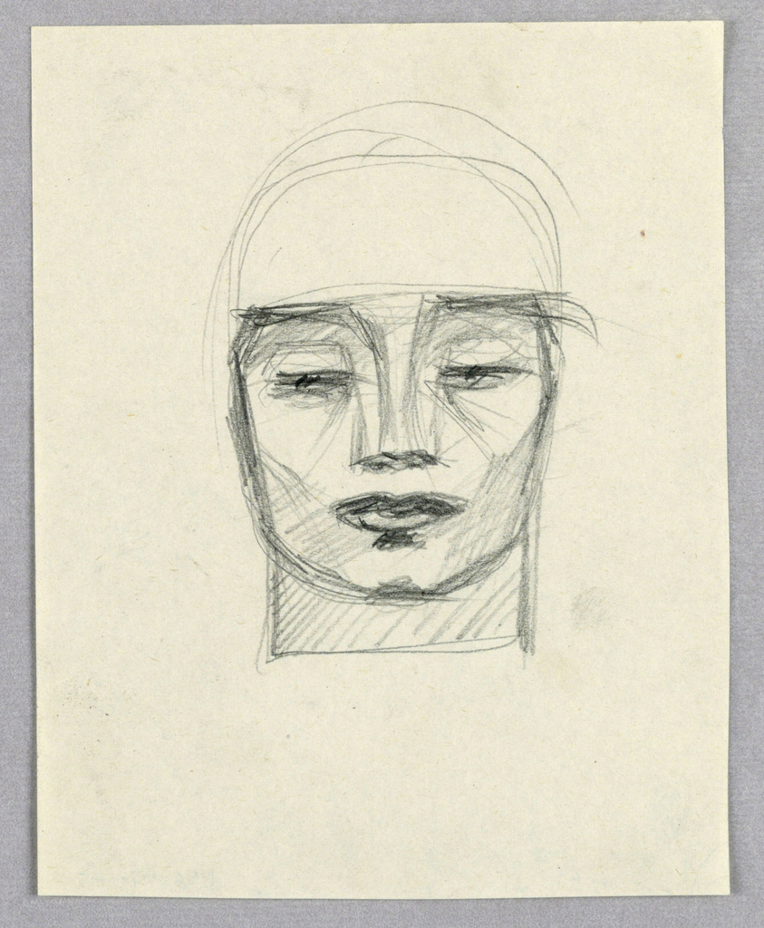 Recto:  This frontal view of a man's head is darkly outlined, as well as shaded in parallel lines and crosshatches throughout. The almost-closed eyes and full, closed lips stand out.   Verso:  In this view of a woman facing front and slightly left, the face is round. Straight brows; eyes looking down under heavy lashes; columnar nose ending in smudged nostrils; and full, closed lips comprise the features. Sparse wavy lines form the shoulder length hair. Shading on the right enhances the delicacy of the features. Next to the face on the right are two intertwined letters S.