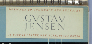 Gustav/ Jensen, in ...............................................................style capitals, is centered on the card. Designer to Commerce and Industry is imprinted across the top edge and 16 East 48 Street, New York, Plaza 8-2826 across the bottom, all in red upper case,...............................style.